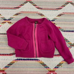Tea Collection 2T - raspberry zipper sweater